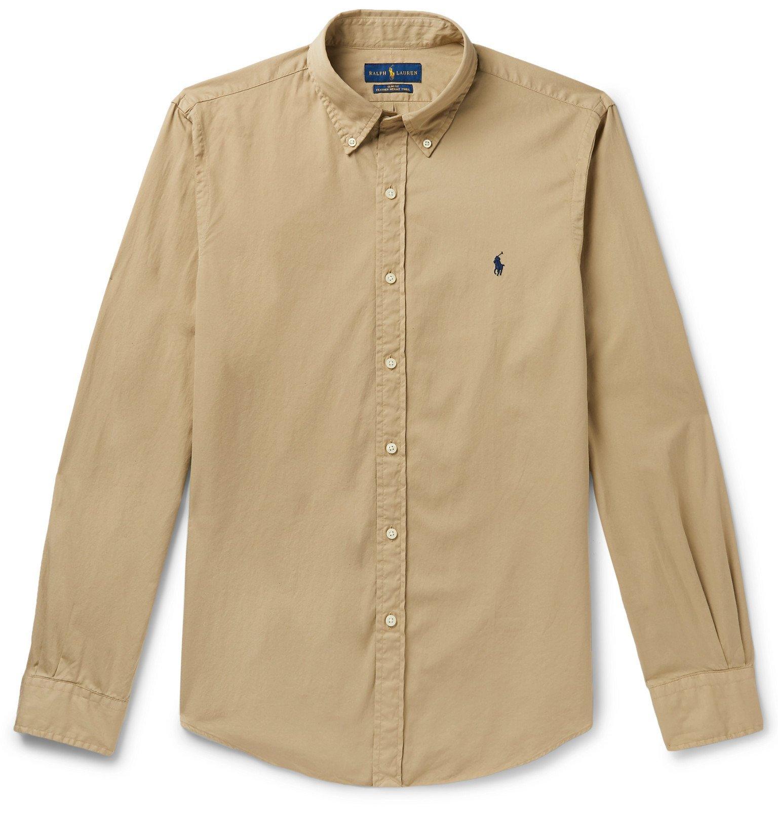 Photo: Polo Ralph Lauren - Slim-Fit Button-Down Collar Garment-Dyed Cotton Oxford Shirt - Brown
