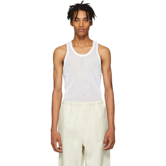 Photo: Helmut Lang White Mesh Logo Tank Top