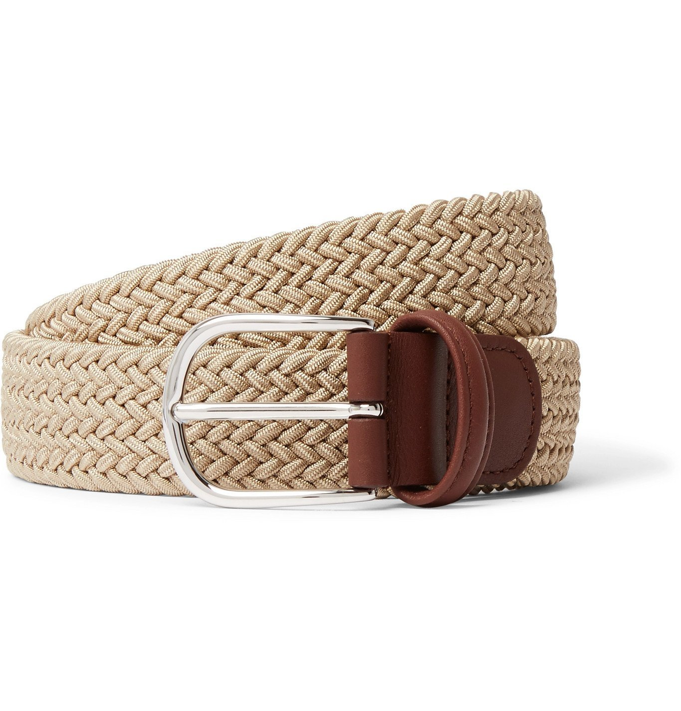 Photo: Anderson's - 4cm Leather-Trimmed Woven Elastic Belt - Neutrals