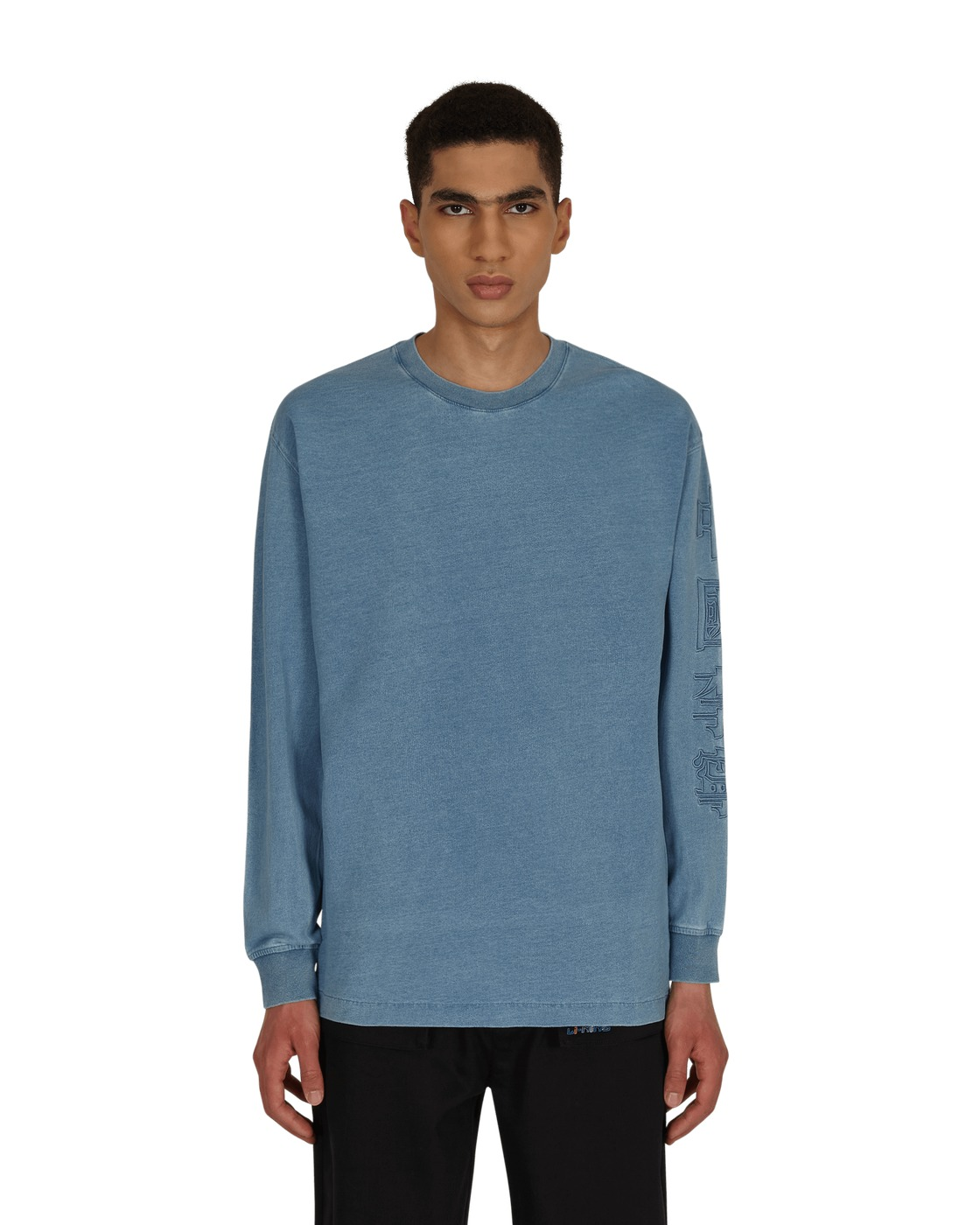 Photo: Li Ning Washed Knit Denim Longsleeve T Shirt Denim Blue