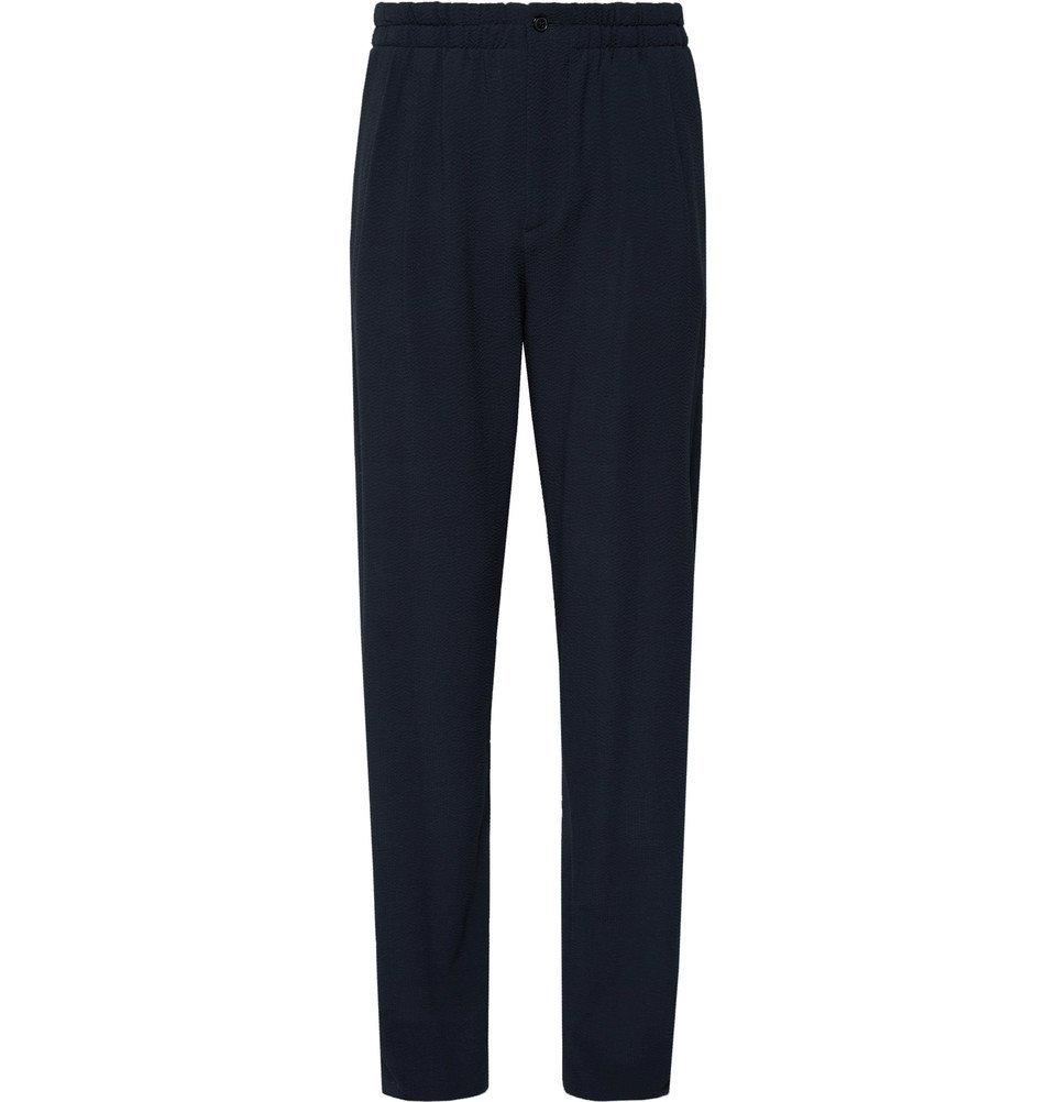 Giorgio Armani - Storm-Blue Pleated Virgin Wool-Seersucker Drawstring Suit Trousers - Men - Storm blue