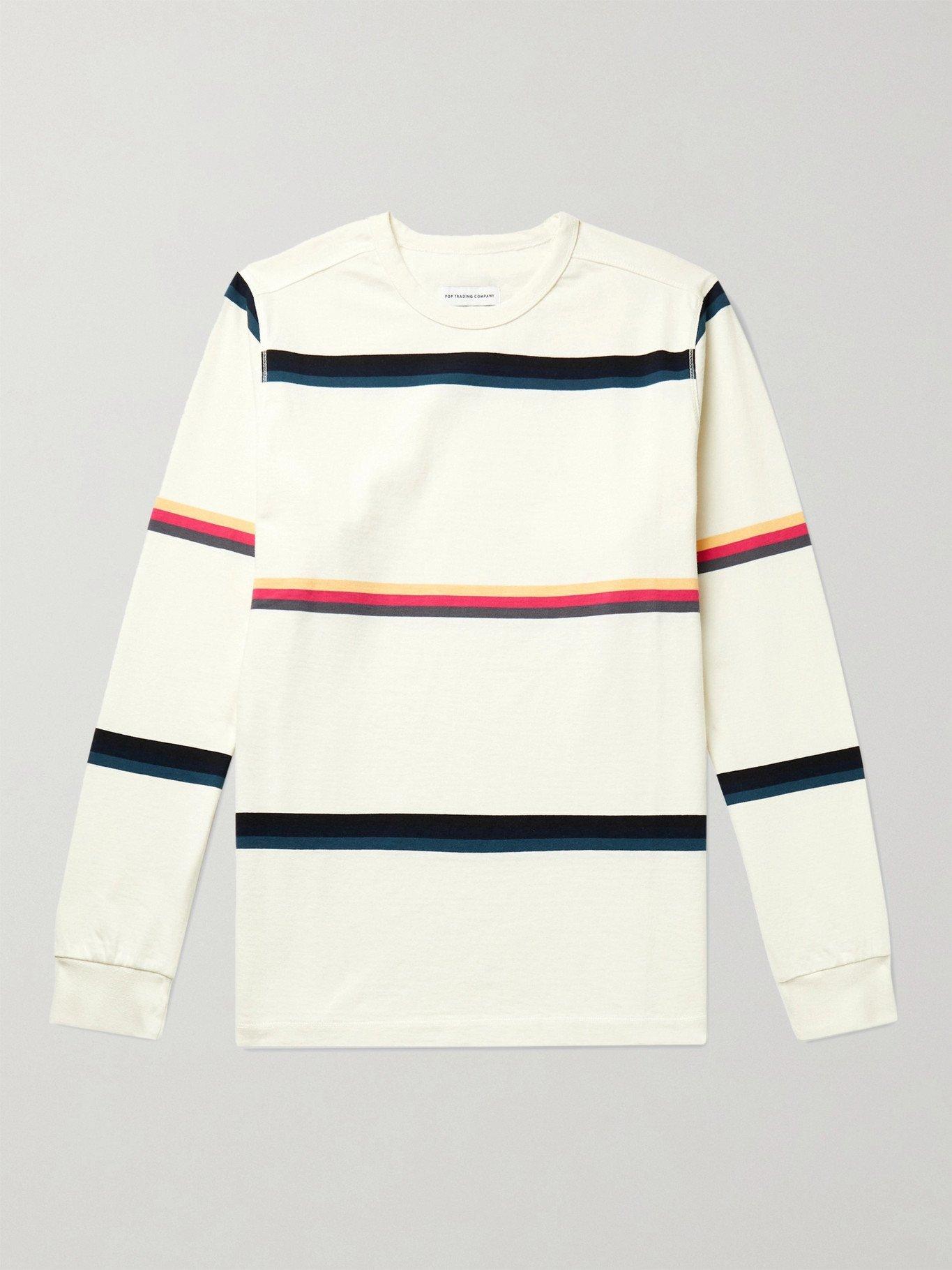 Photo: Pop Trading Company - Striped Cotton-Jersey T-Shirt - Neutrals