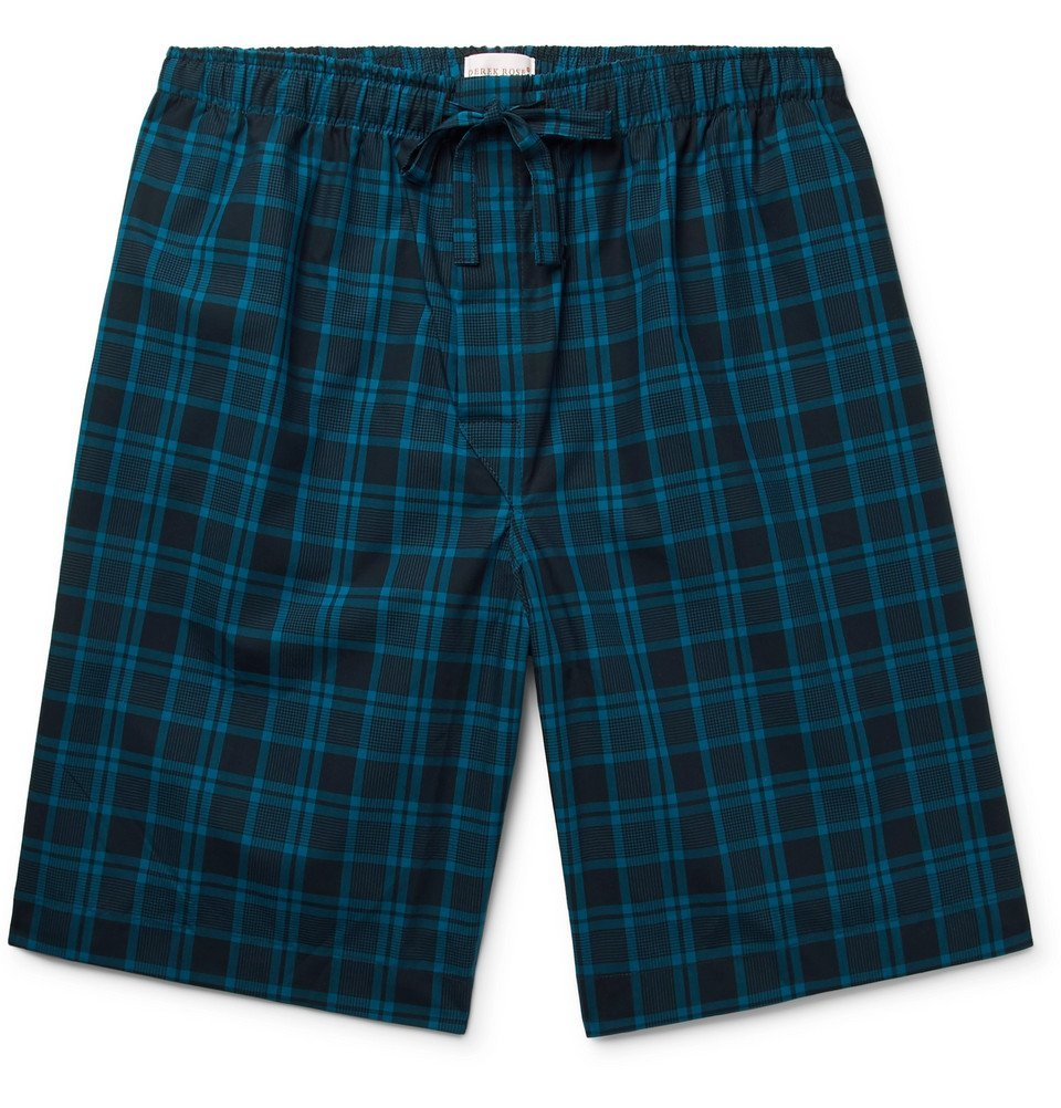 Photo: Derek Rose - Barker Checked Cotton-Poplin Pyjama Shorts - Blue