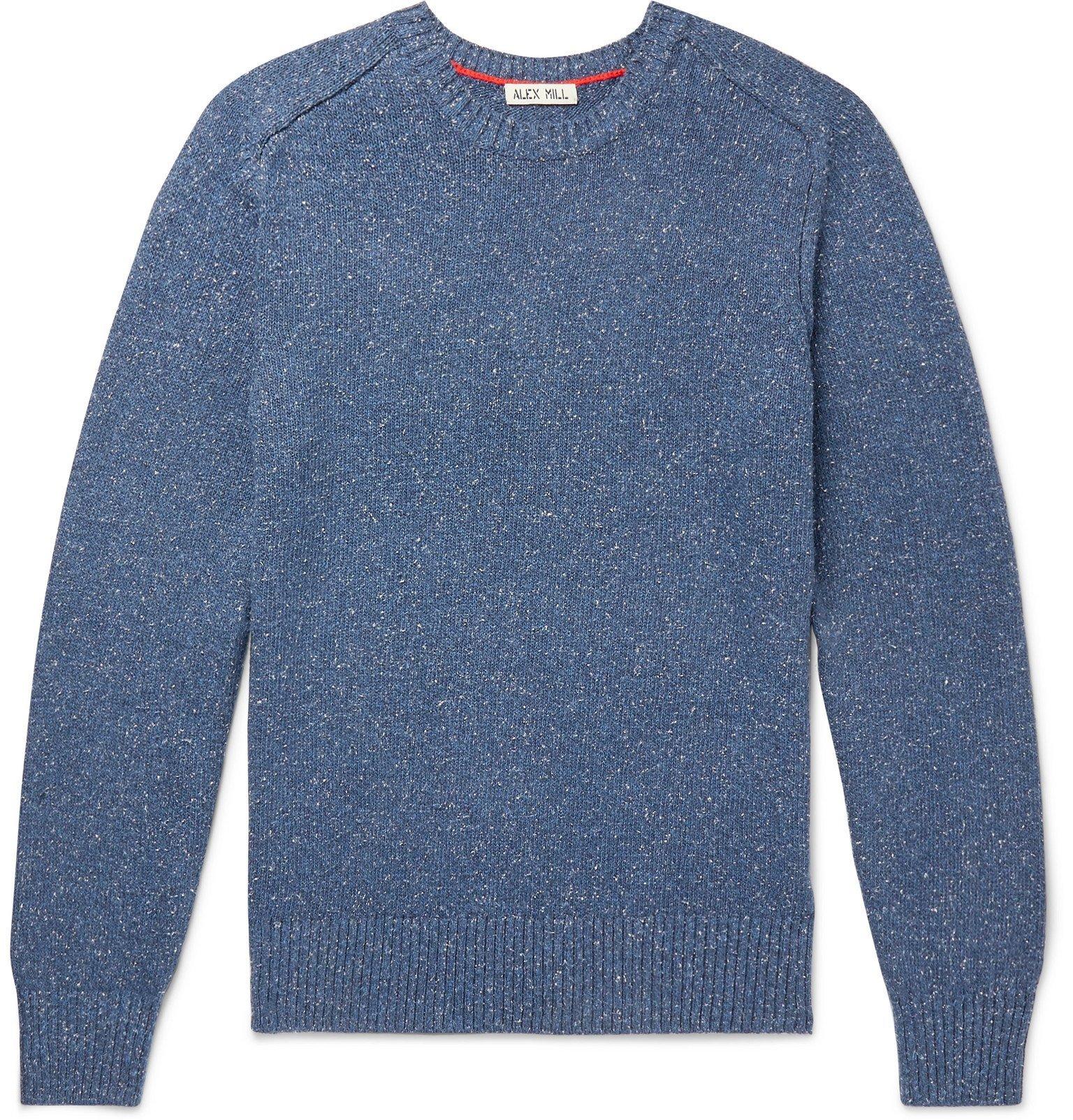 Photo: Alex Mill - Mélange Cotton and Silk-Blend Sweater - Blue