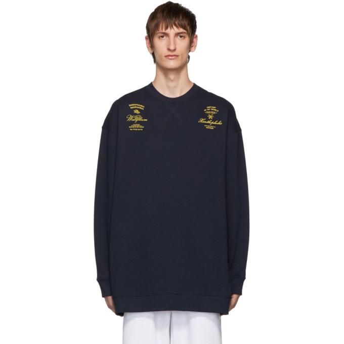 Photo: Raf Simons Navy Oversized Crewneck Sweater