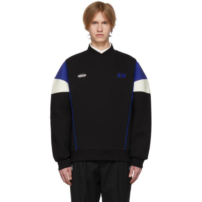 Photo: ADER error SSENSE Exclusive Black and Blue ASCC Colorblock Sleeve Sweatshirt