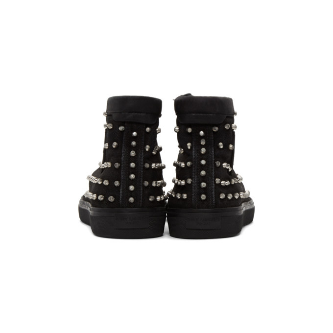 Saint Laurent Black Studded Bedford High-Top Sneakers