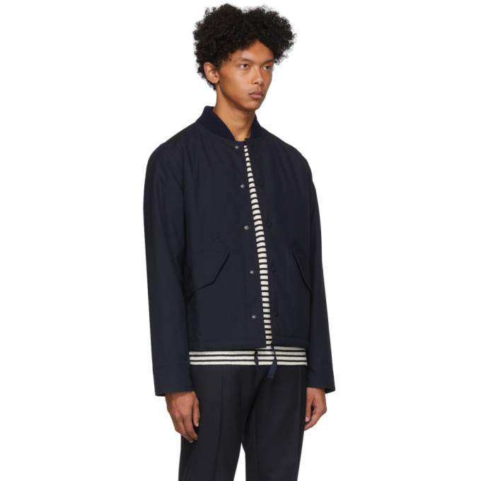 Officine Generale Navy Waterproof Mathis Bomber Jacket