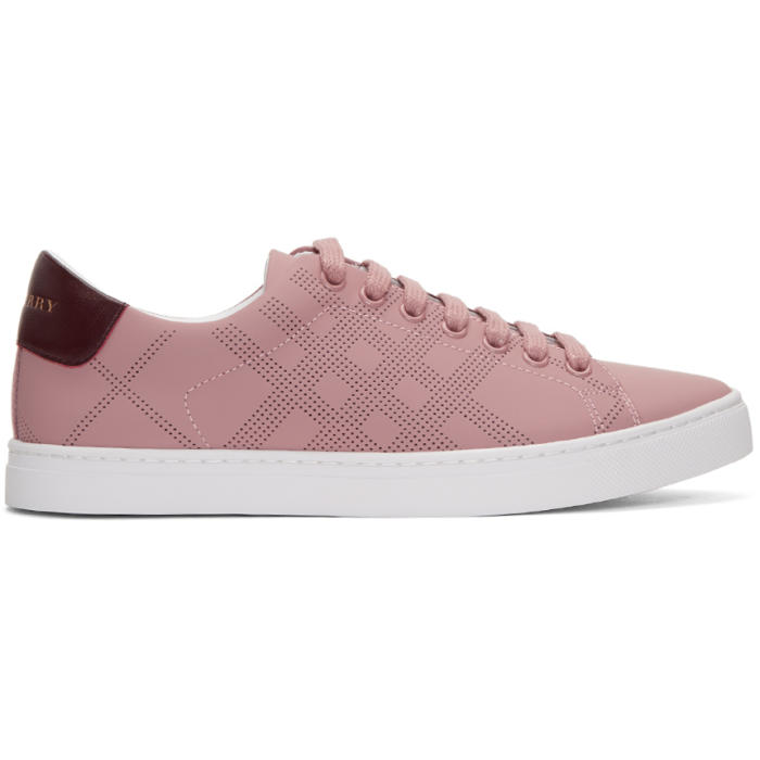 Photo: Burberry Pink Perforated Check Albert Sneakers