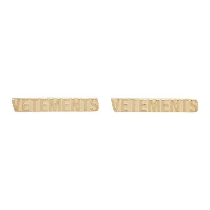 Photo: VETEMENTS Gold Logo Stud Earrings
