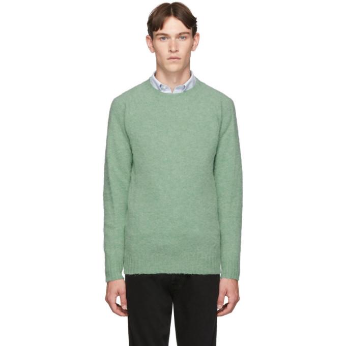 Photo: Officine Generale Green Wool Seamless Crewneck Sweater