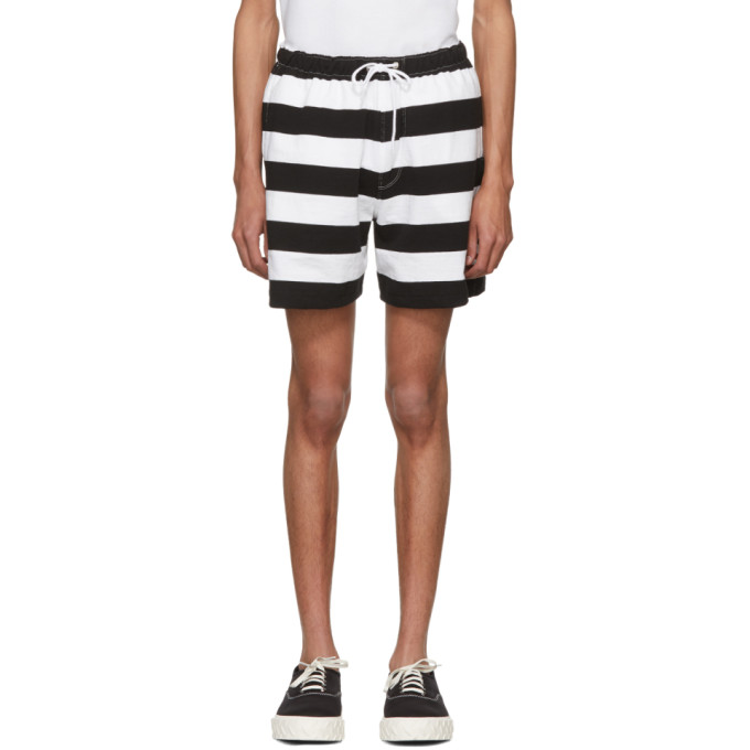 Photo: Noah NYC Black and White Rugby Shorts