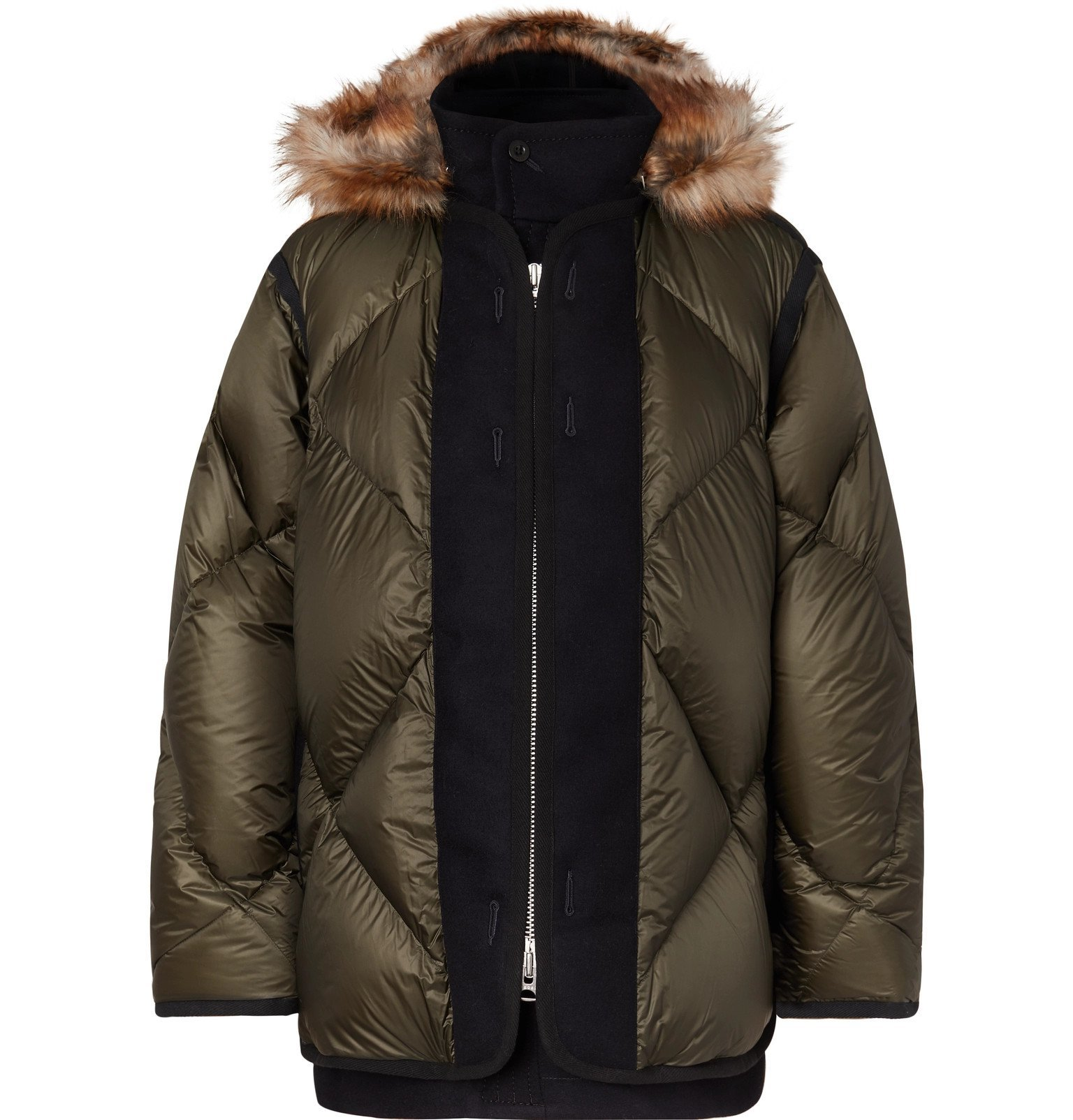 Photo: Sacai - Faux Fur and Wool Twill-Trimmed Quilted Nylon Down Coat - Green