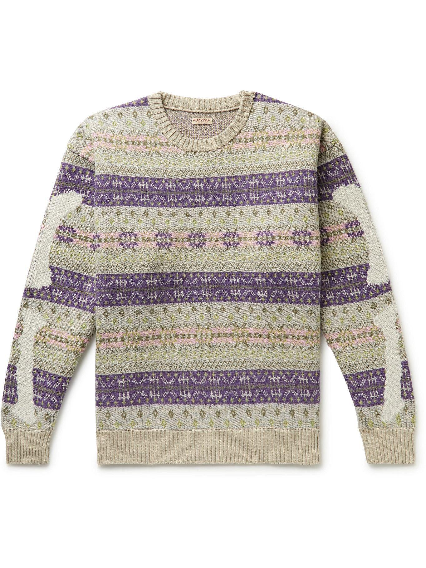 Photo: KAPITAL - Intarsia Fair Isle Wool-Blend Sweater - Purple