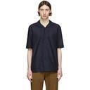 Sunspel Navy Mesh Camp Collar Shirt