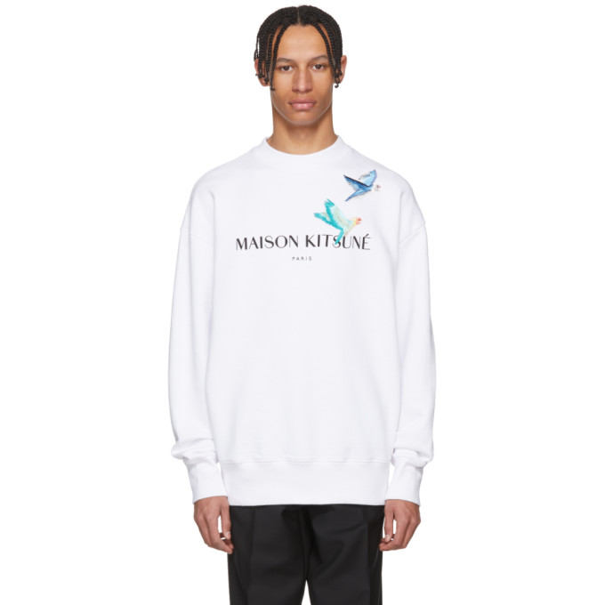 Photo: Maison Kitsune White Lovebirds Sweatshirt
