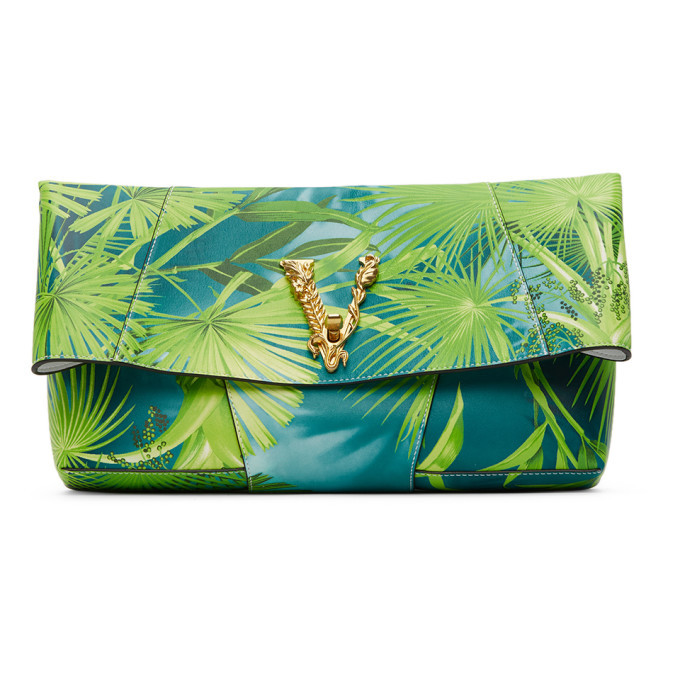 Versace Green Jungle Vitrus Clutch