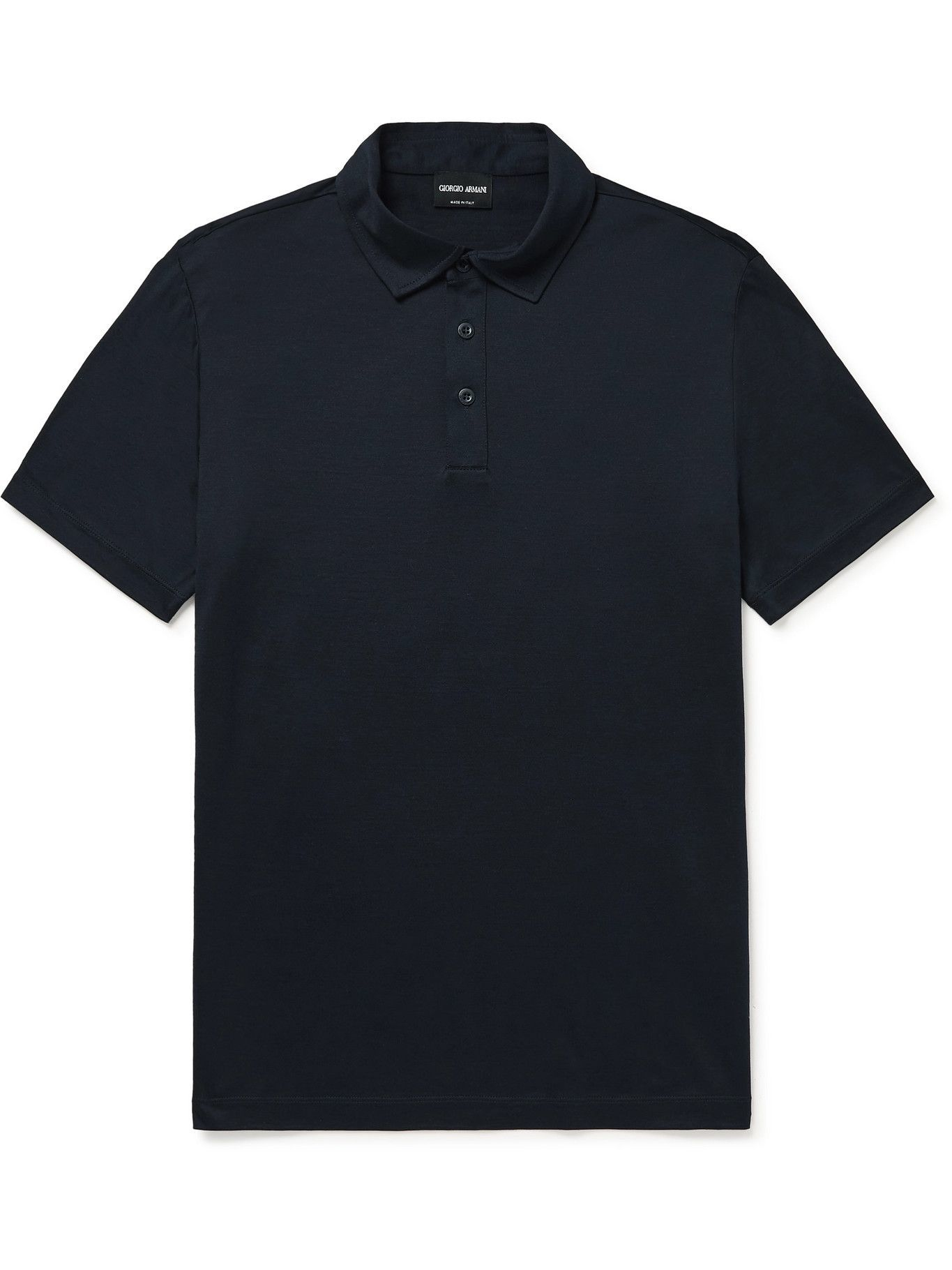 GIORGIO ARMANI - Slim-Fit Mélange Silk and Cotton-Blend Polo Shirt - Blue
