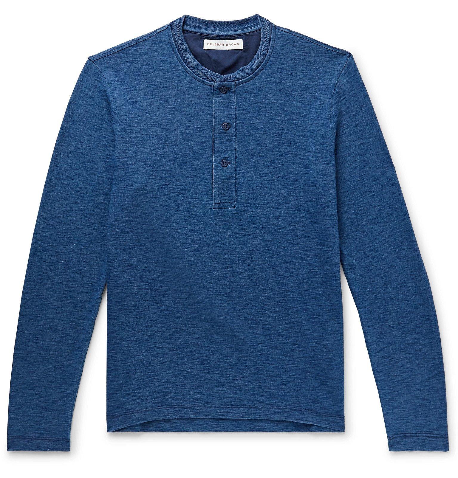 Photo: Orlebar Brown - Arlo Slim-Fit Indigo-Dyed Mélange Cotton-Jersey Henley T-Shirt - Blue