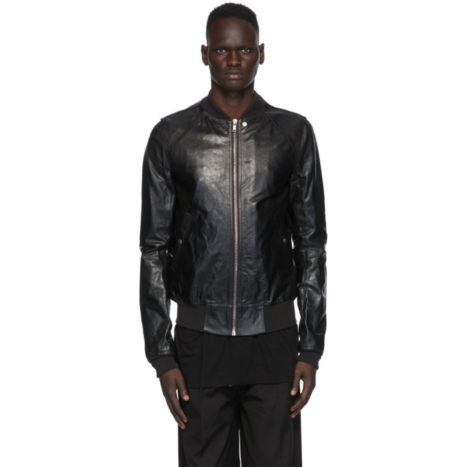 Photo: Rick Owens Black Leather Raglan Bomber Jacket