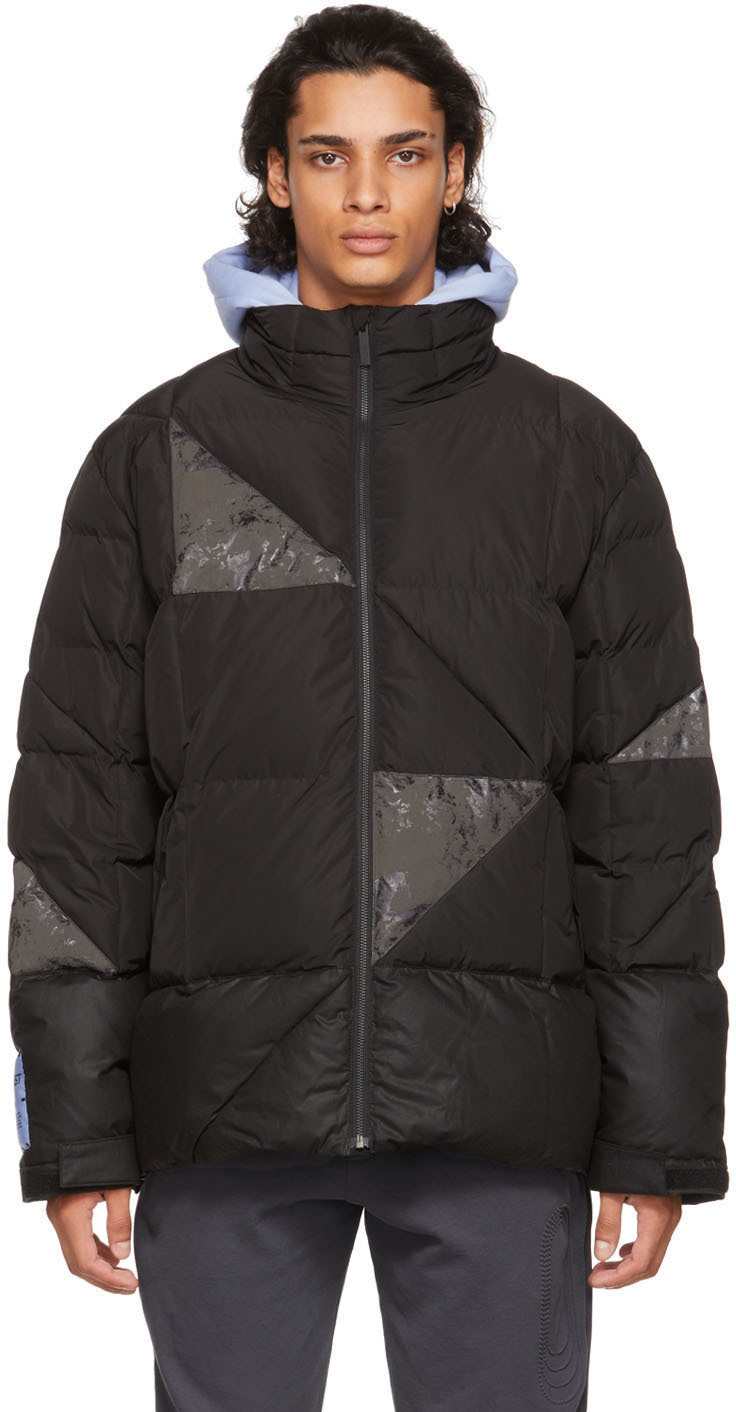 Photo: MCQ Black Waxed Cotton Patched Puffer Jacket