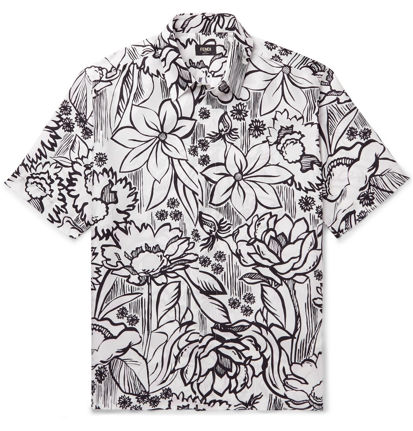 Photo: Fendi - Floral-Print Silk-Twill Shirt - White