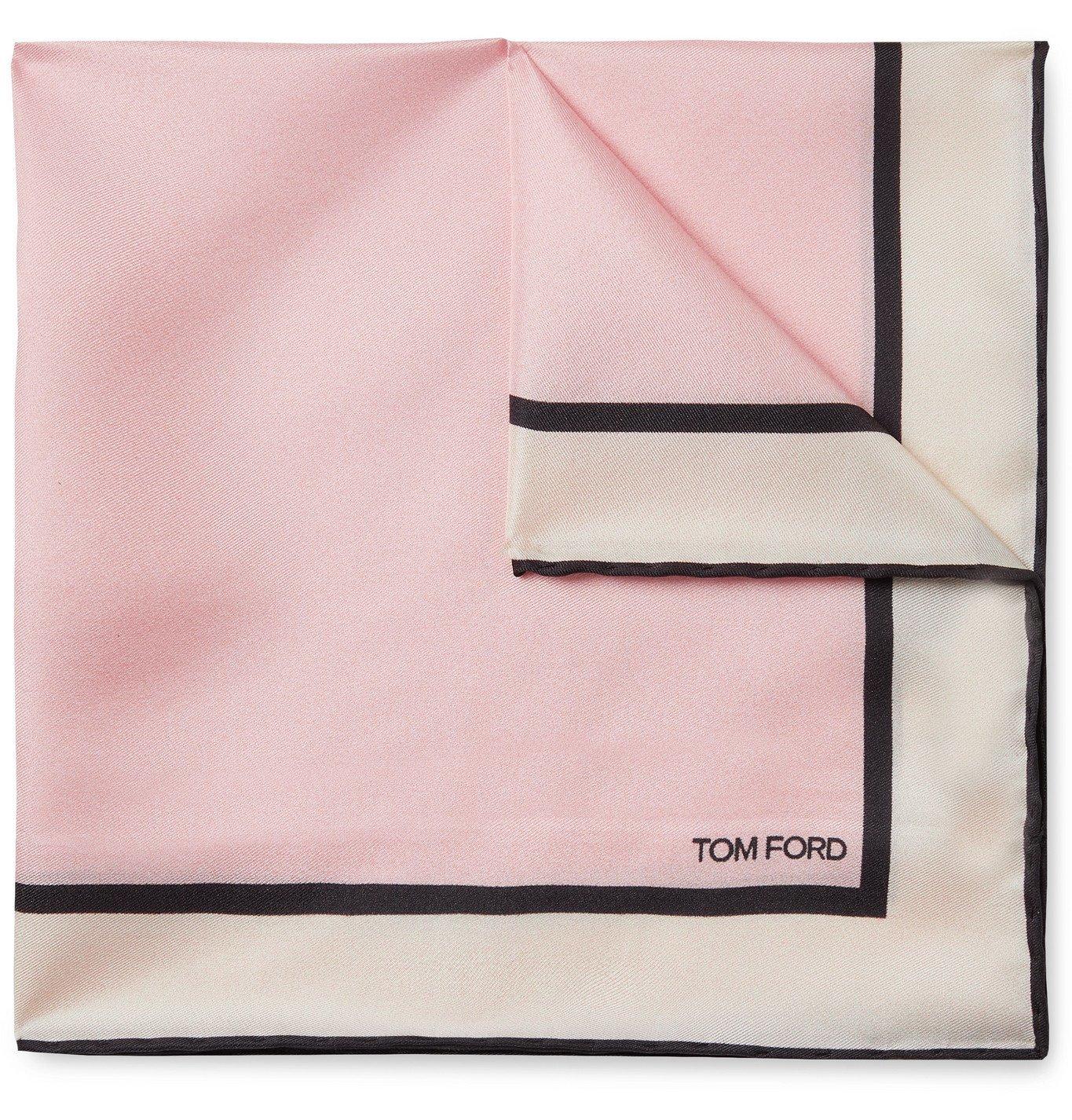 Photo: TOM FORD - Printed Silk-Twill Pocket Square - Pink