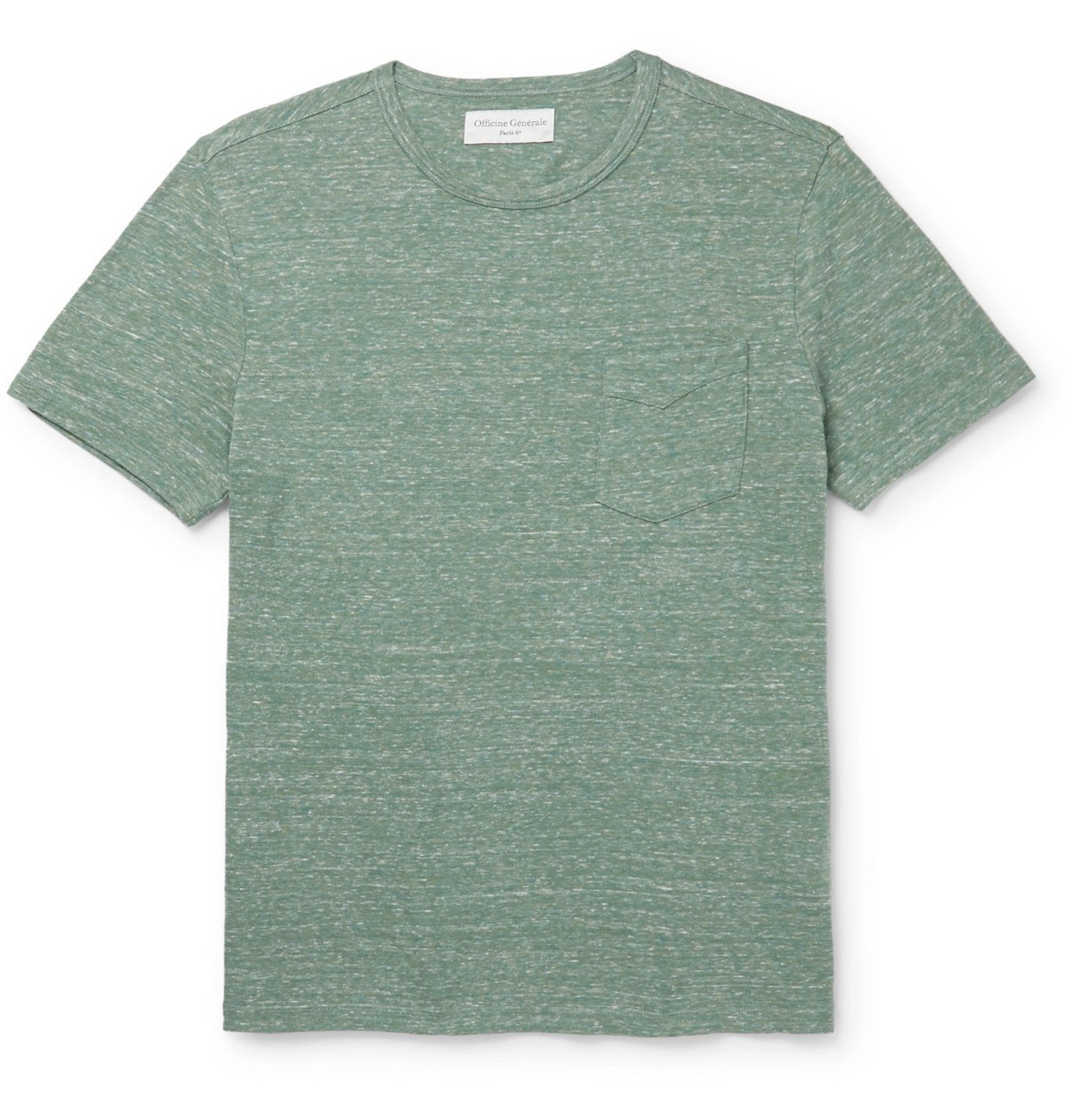 Photo: Officine Generale - Mélange Cotton-Jersey T-Shirt - Green
