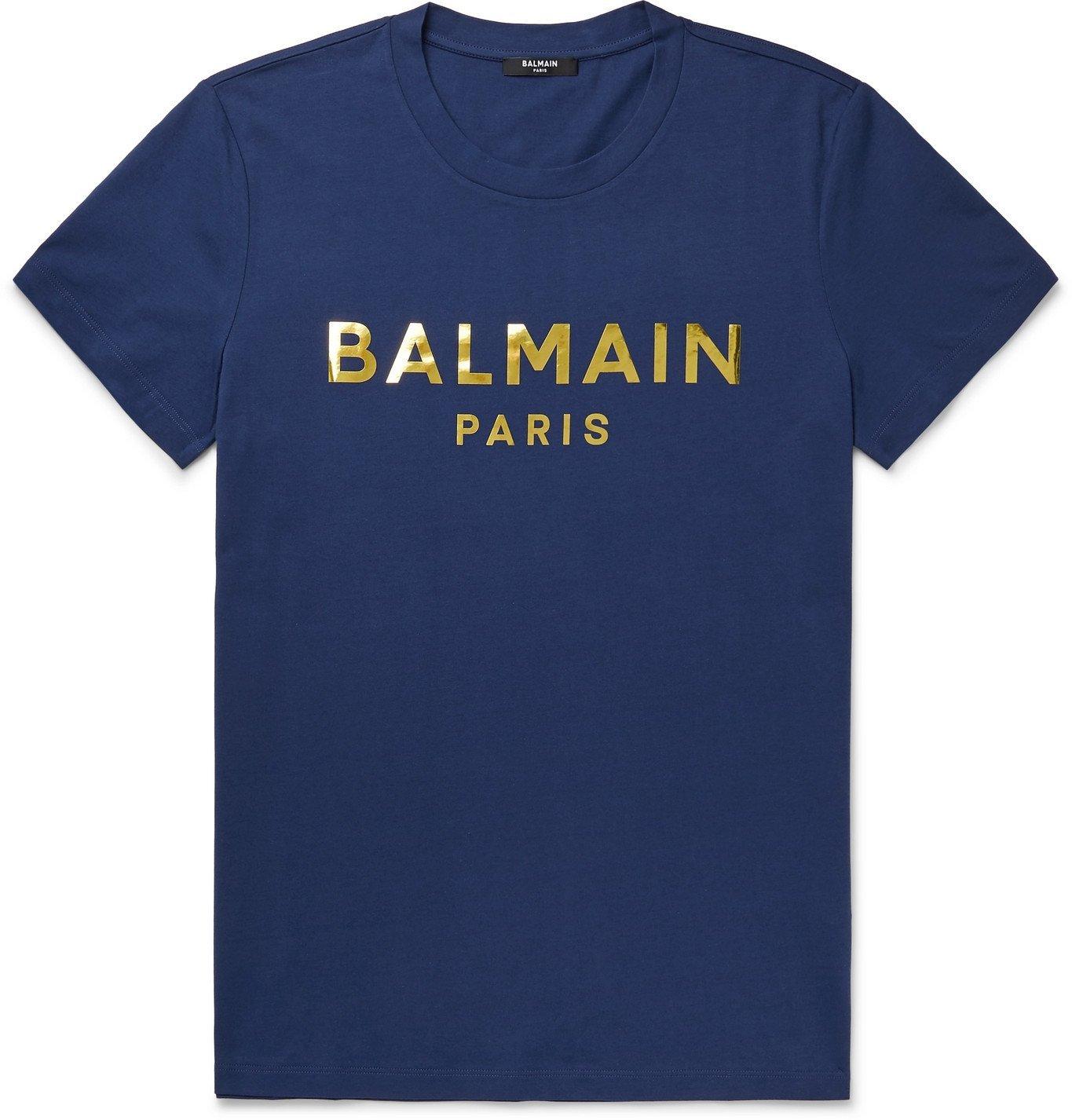 Balmain - Slim-Fit Metallic Logo-Print Cotton-Jersey T-Shirt - Blue