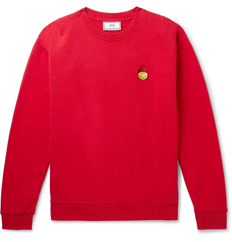 Photo: AMI - The Smiley Company Logo-Appliquéd Loopback Cotton-Jersey Sweatshirt - Red