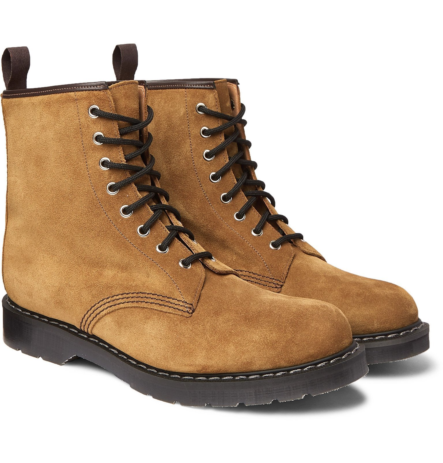 Photo: Noah - Solovair Leather-Trimmed Suede Boots - Brown