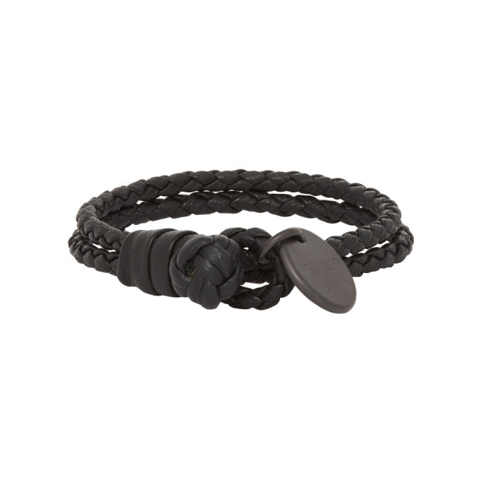 Photo: Bottega Veneta Black Intrecciato Bracelet
