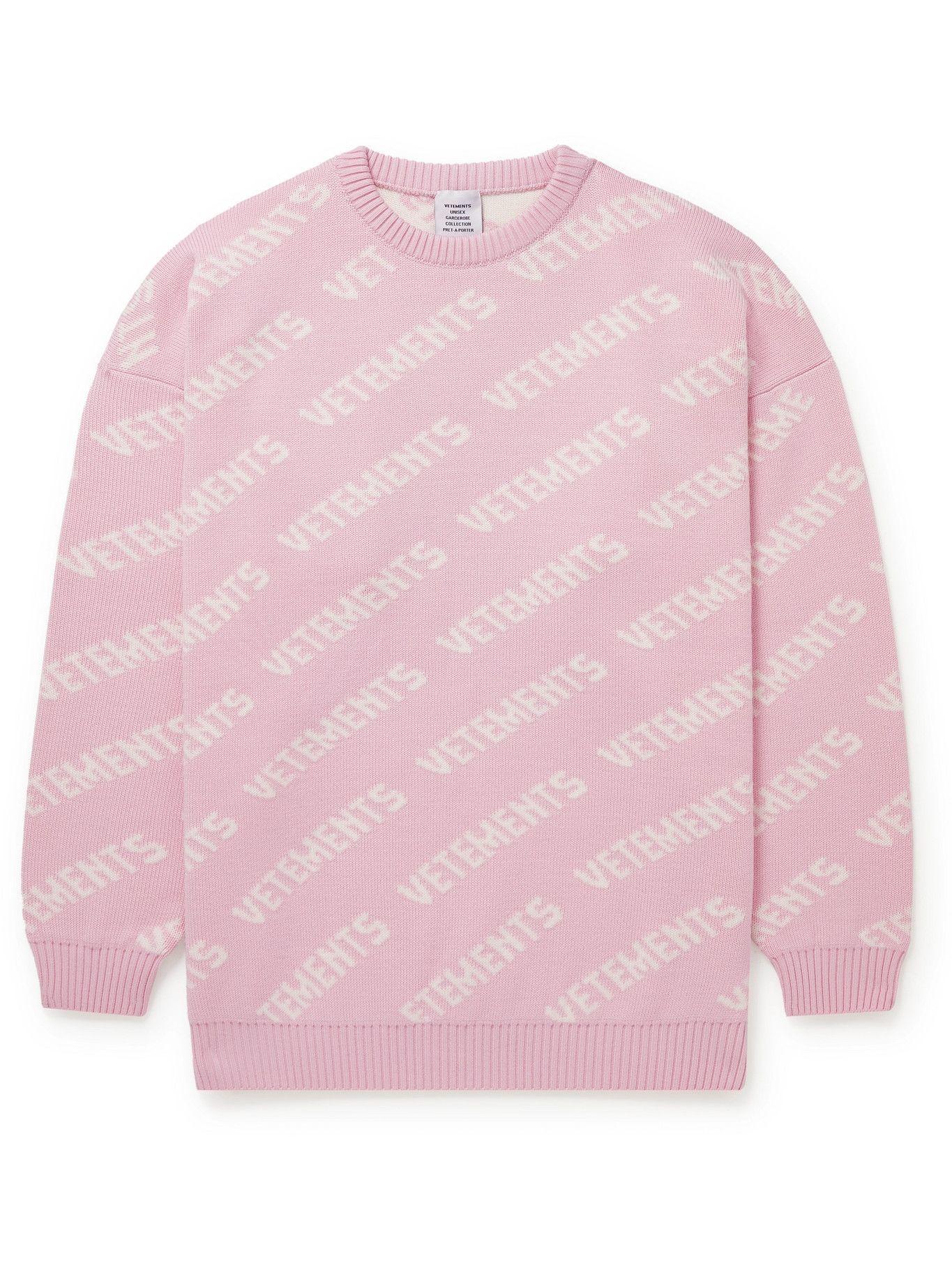 Photo: Vetements - Logo-Intarsia Cotton Sweater - Pink