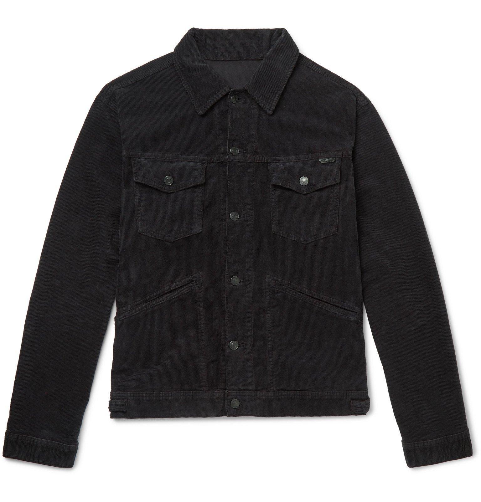 Photo: TOM FORD - Slim-Fit Washed Cotton-Blend Corduroy Trucker Jacket - Black