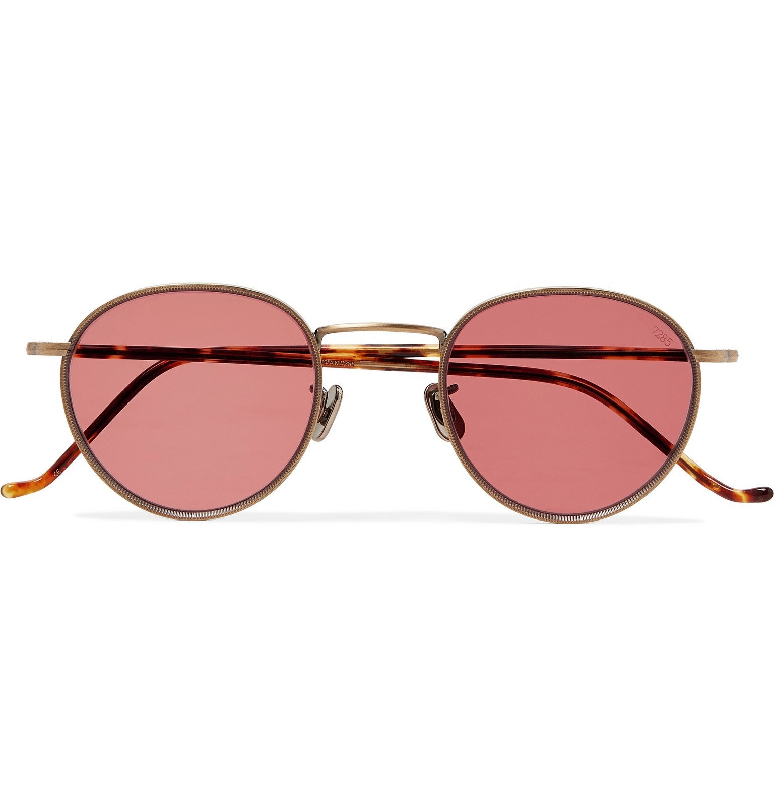 Photo: Eyevan 7285 - Round-Frame Gold-Tone Titanium and Tortoiseshell Acetate Sunglasses - Gold