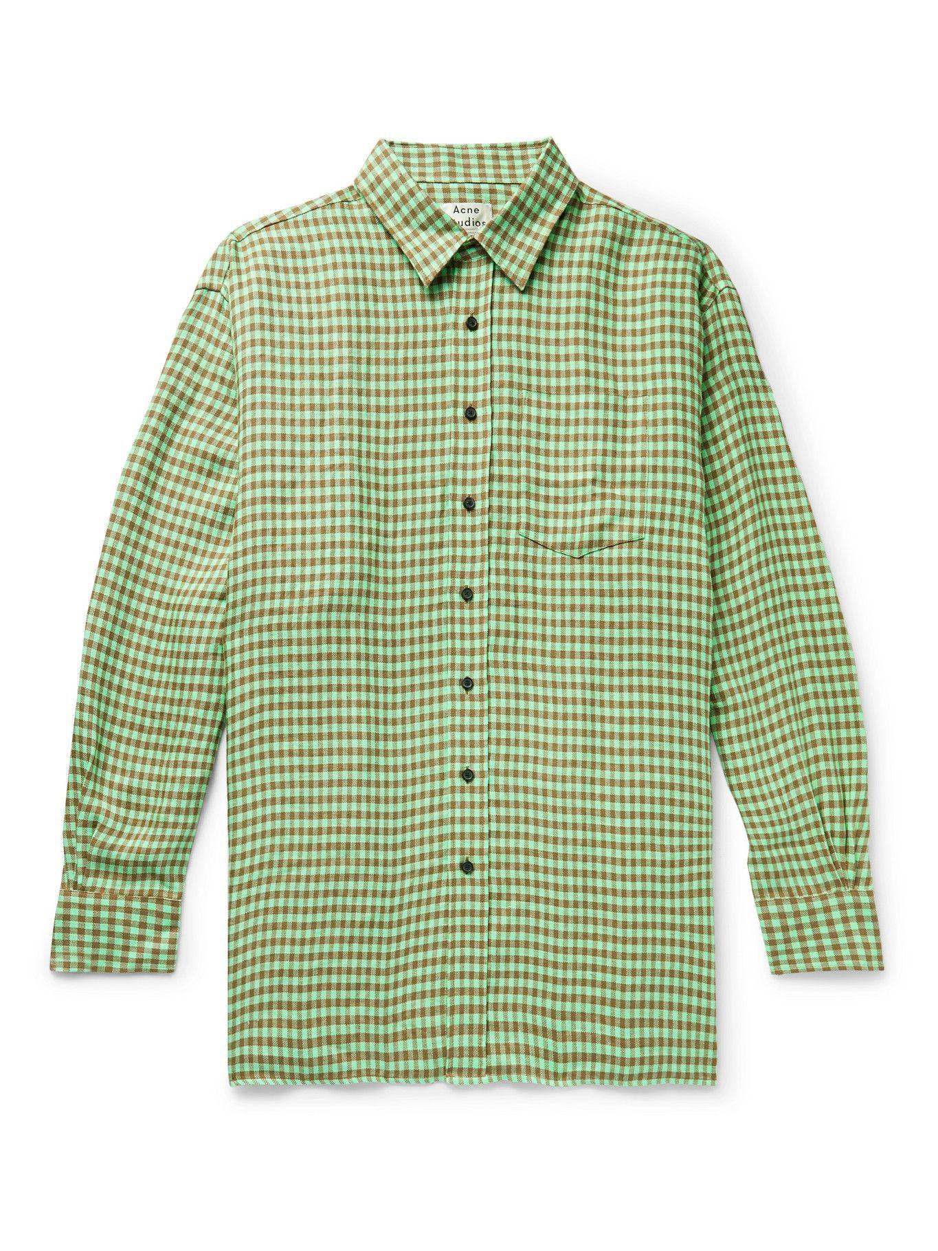Photo: ACNE STUDIOS - Oversized Gingham Linen Shirt - Green
