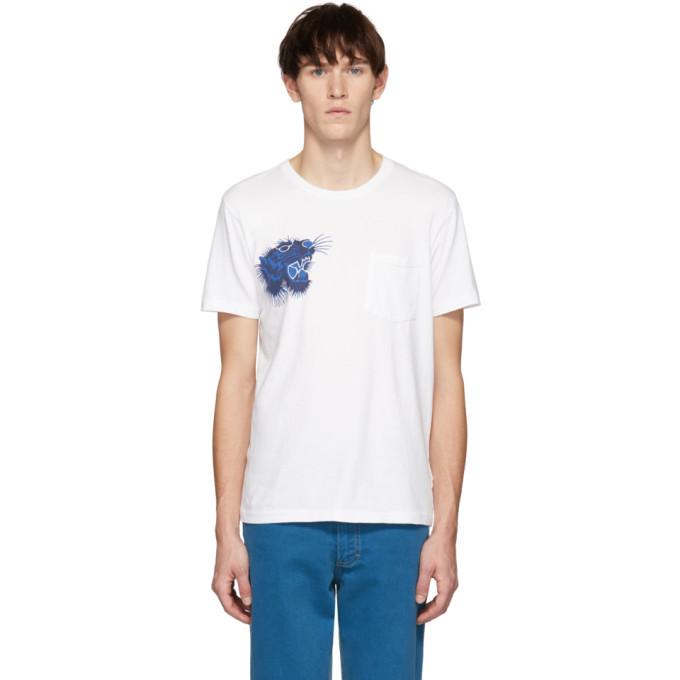 Photo: Blue Blue Japan SSENSE Exclusive White Tiger Face T-Shirt