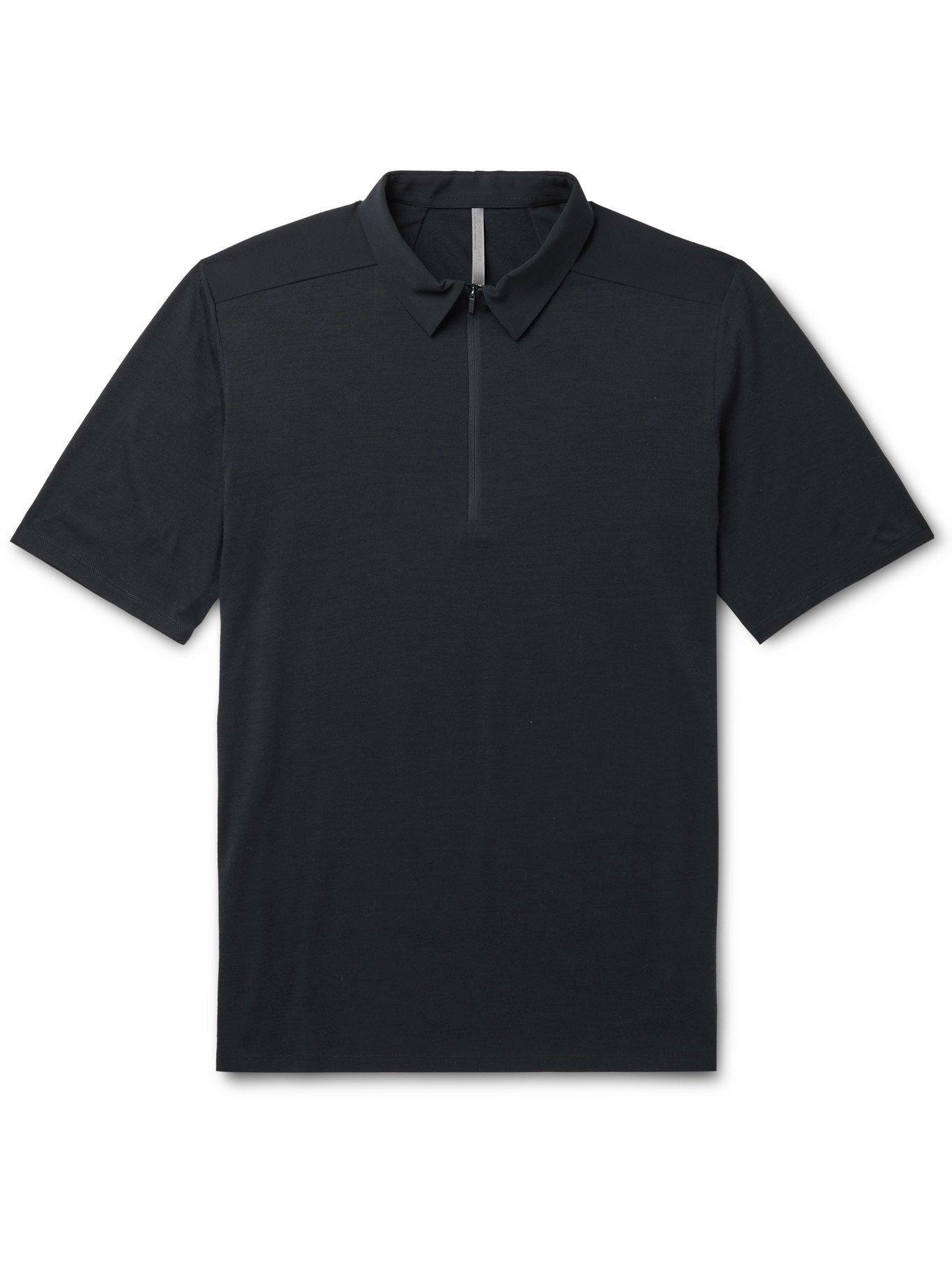 VEILANCE - Frame Shell-Trimmed Wool-Blend Polo Shirt - Blue