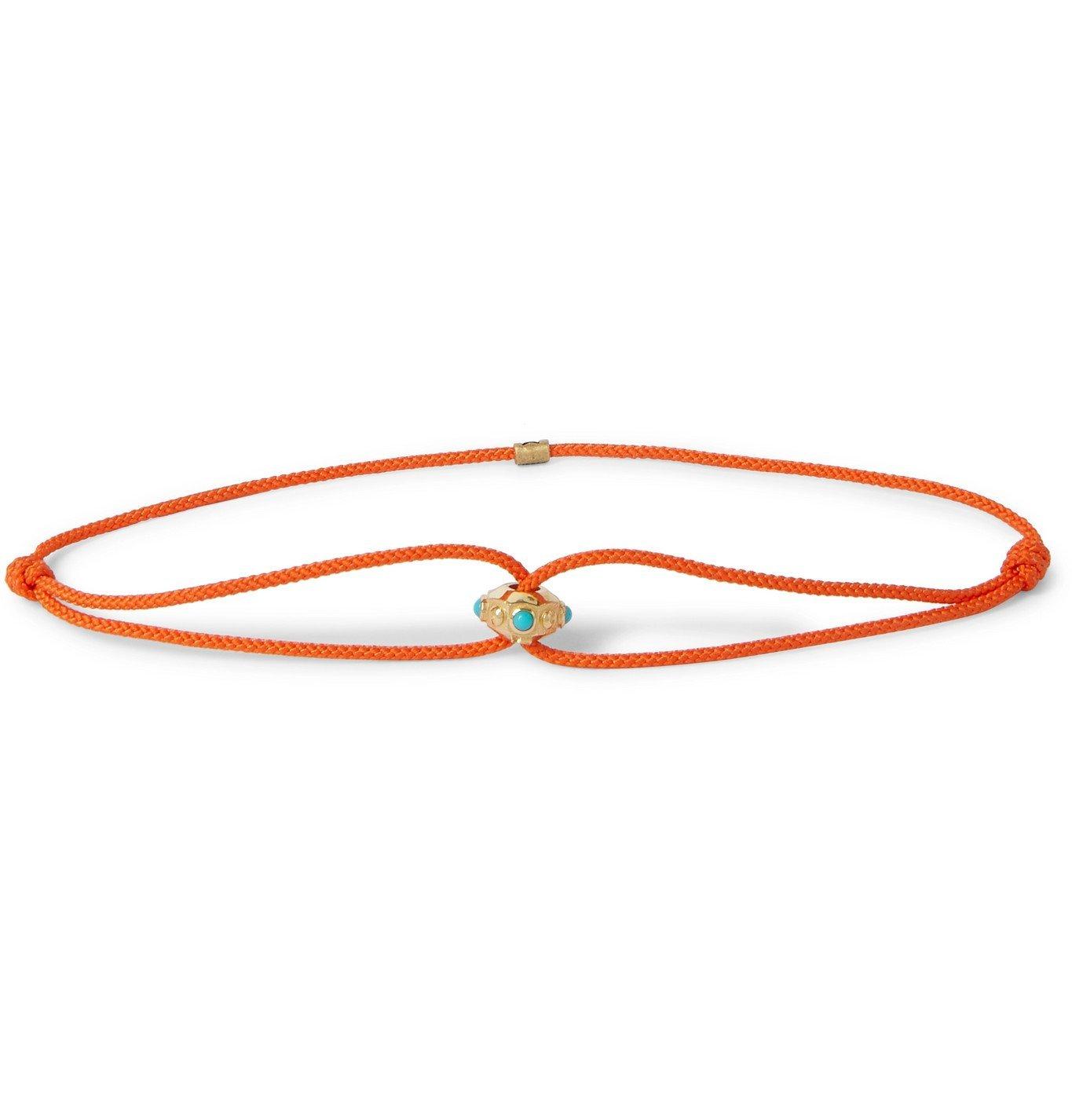 Photo: Luis Morais - Gold, Turquoise and Cord Bracelet - Orange
