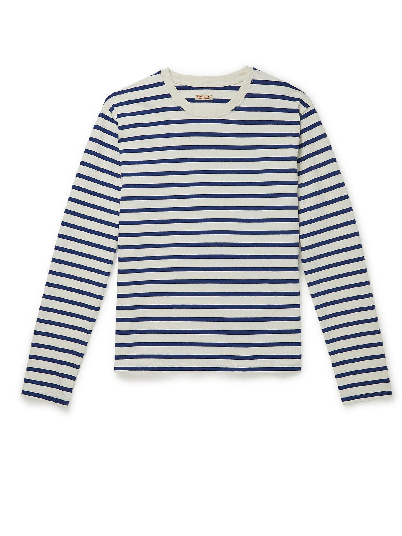Photo: KAPITAL - Printed Striped Cotton-Jersey T-Shirt - Blue
