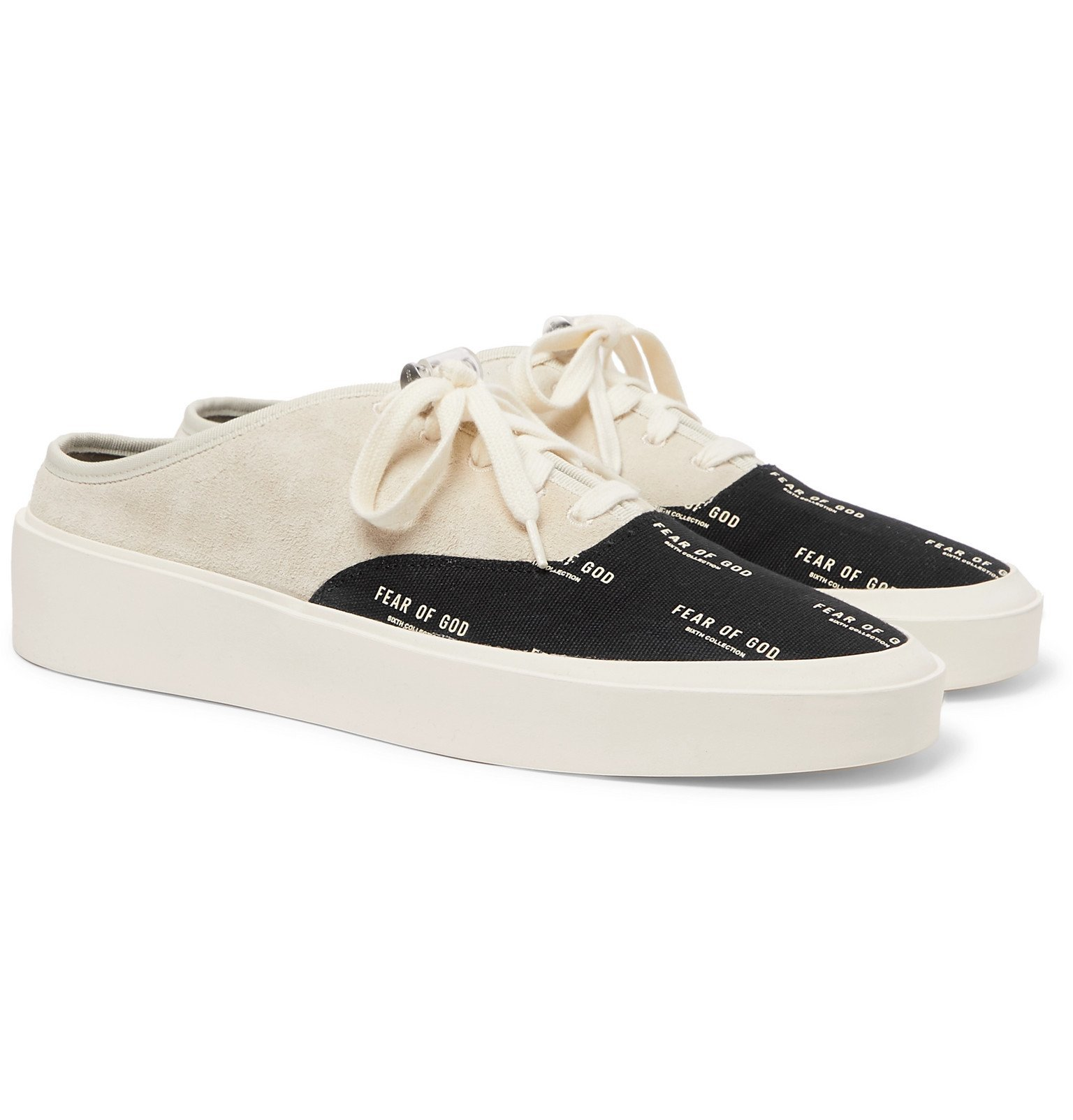 Photo: Fear of God - 101 Suede and Logo-Print Canvas Backless Sneakers - Gray