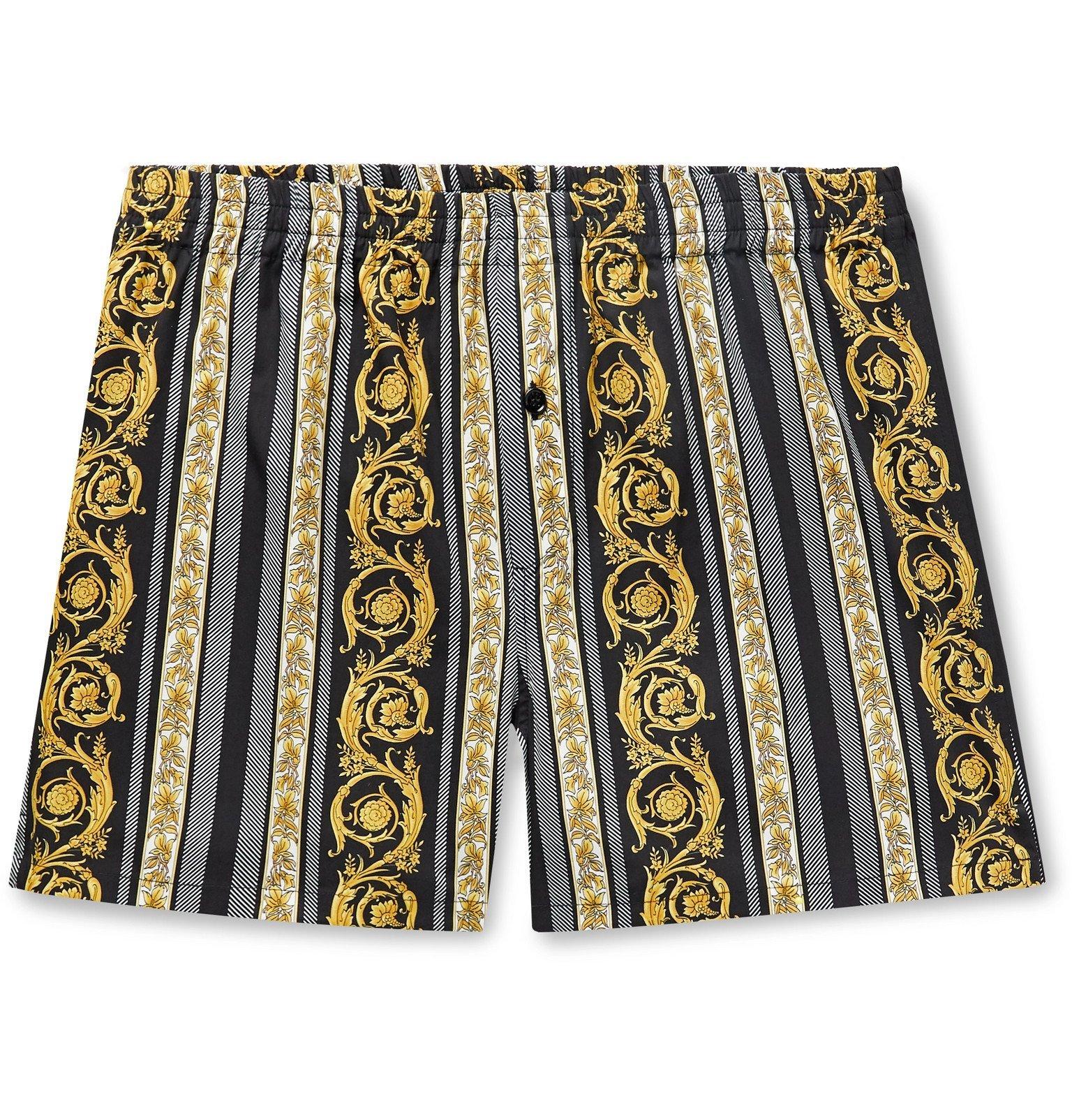 Photo: Versace - Printed Cotton Boxer Shorts - Black