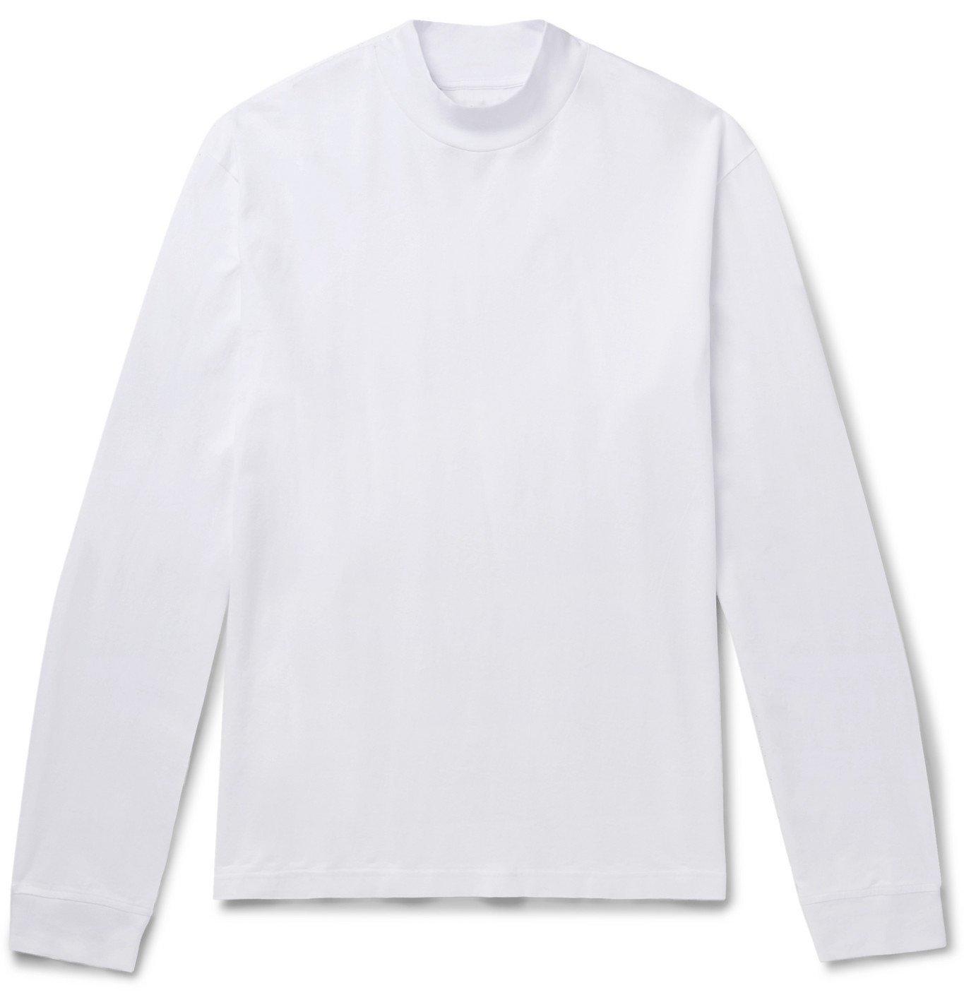 Photo: Acne Studios - Mélange Cotton-Jersey Mock-Neck T-Shirt - White
