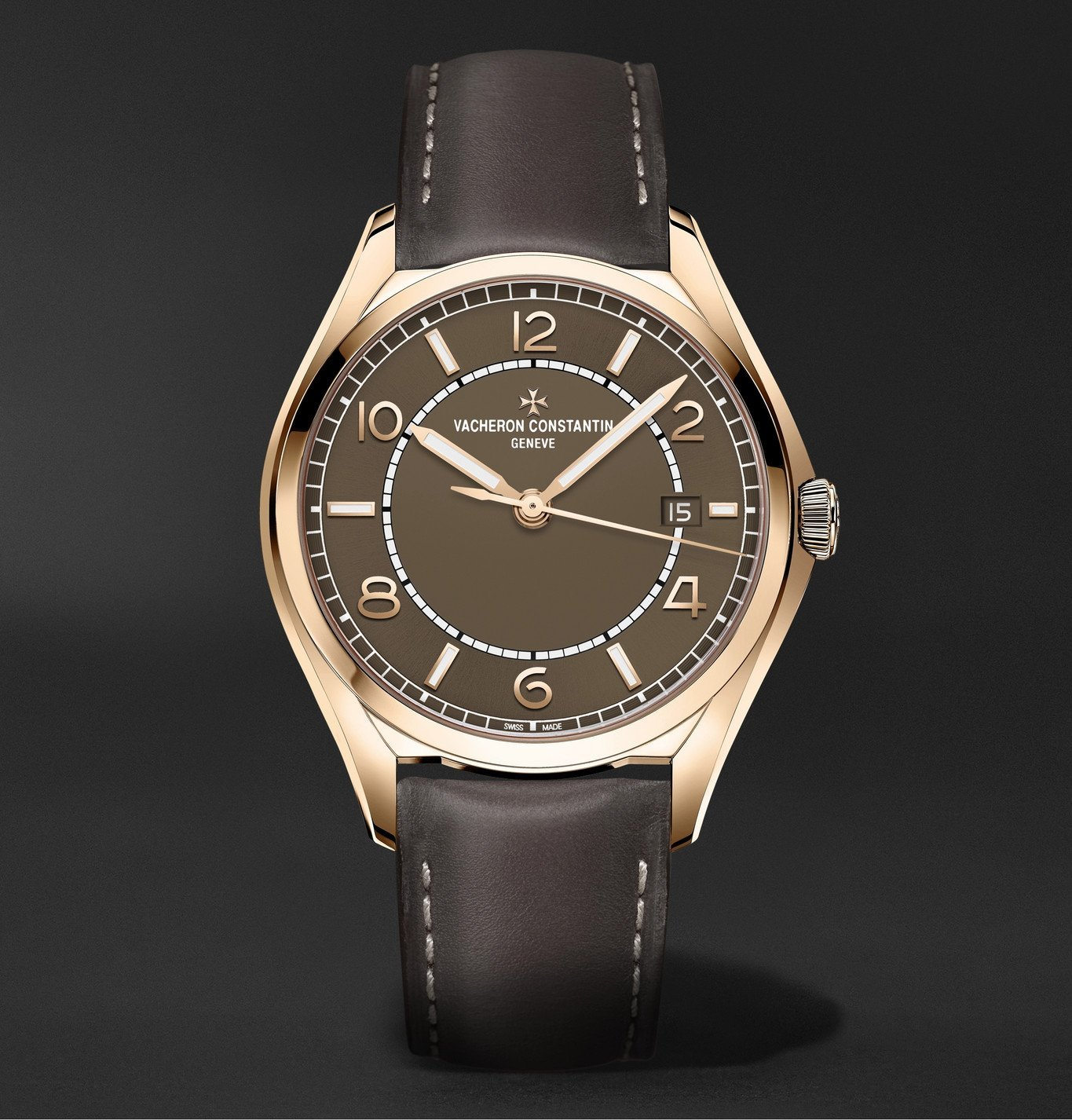 Photo: Vacheron Constantin - Fiftysix Automatic 40mm Pink Gold and Leather Watch, Ref. No. 4600E/000R-B576 - Brown