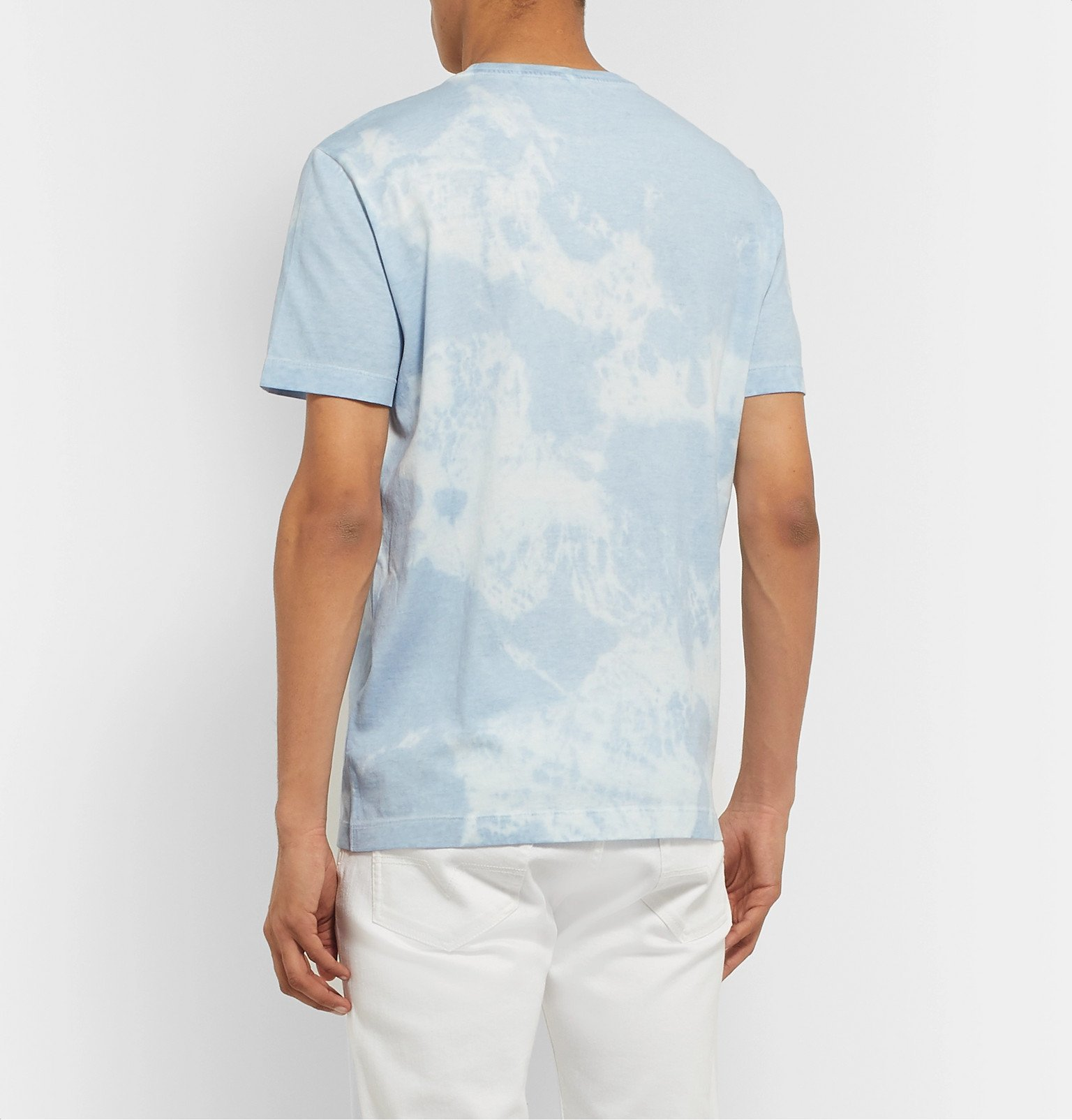 Versace - Logo-Embroidered Tie-Dyed Cotton-Jersey T-Shirt - Blue
