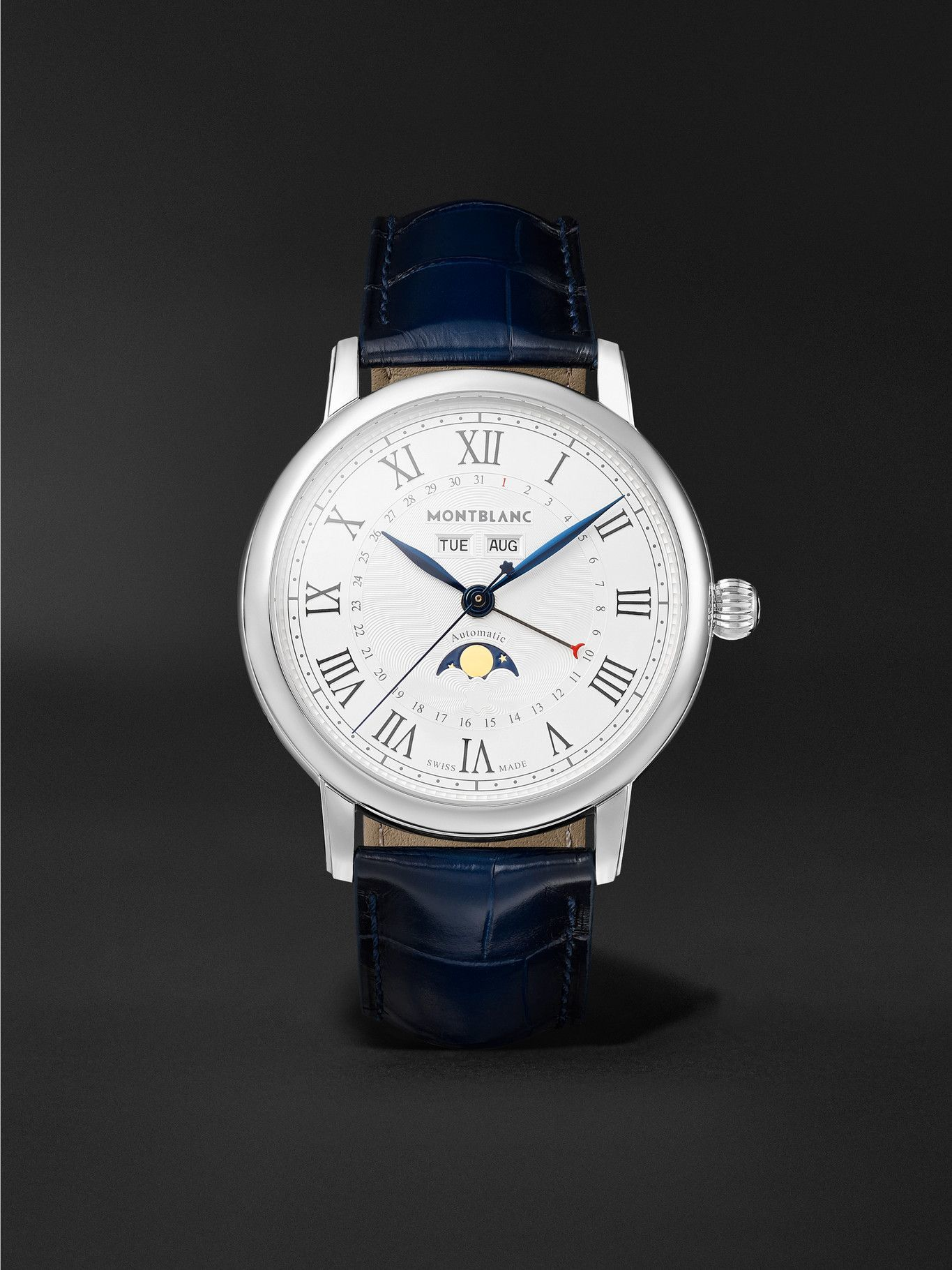 Photo: Montblanc - Star Legacy Full Calendar Automatic Moon-Phase 42mm Stainless Steel and Alligator Watch, Ref. No. 119955