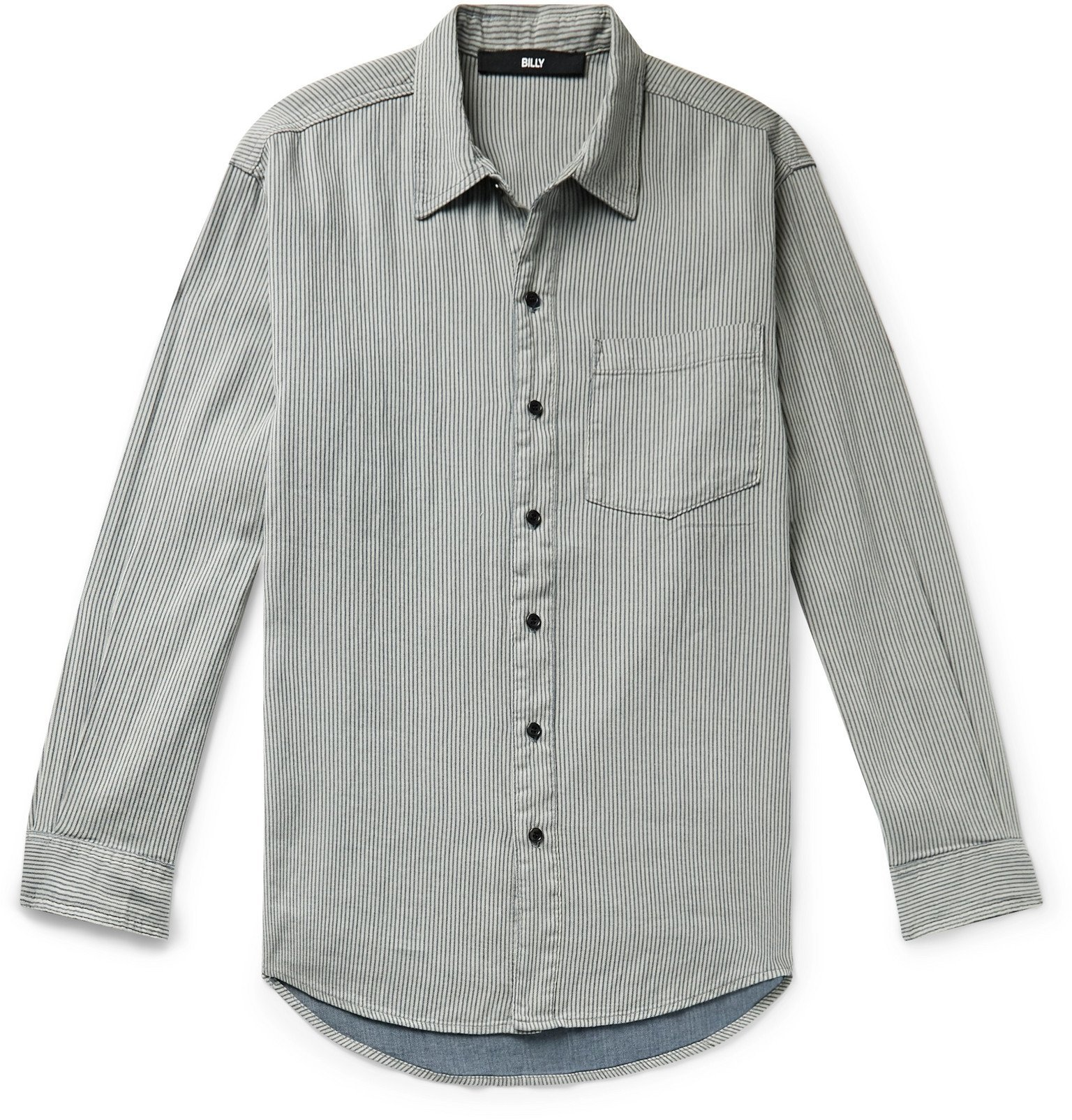 Photo: BILLY - Striped Cotton Shirt - Gray