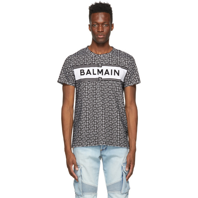 Photo: Balmain White and Black Bicolor Monogram Logo T-Shirt