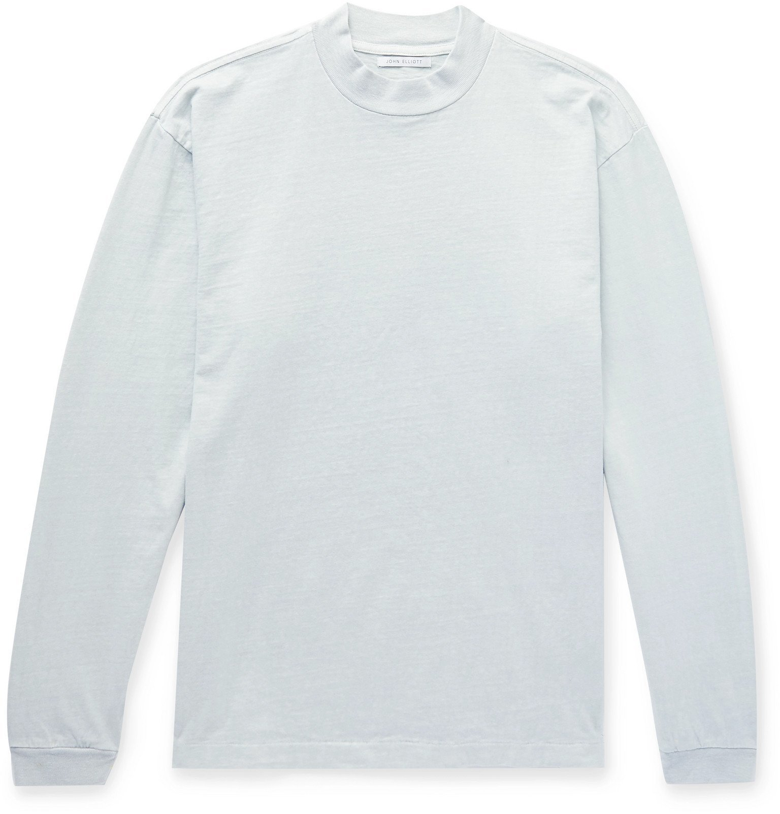 Photo: John Elliott - Slub Cotton-Jersey Mock-Neck T-Shirt - Blue