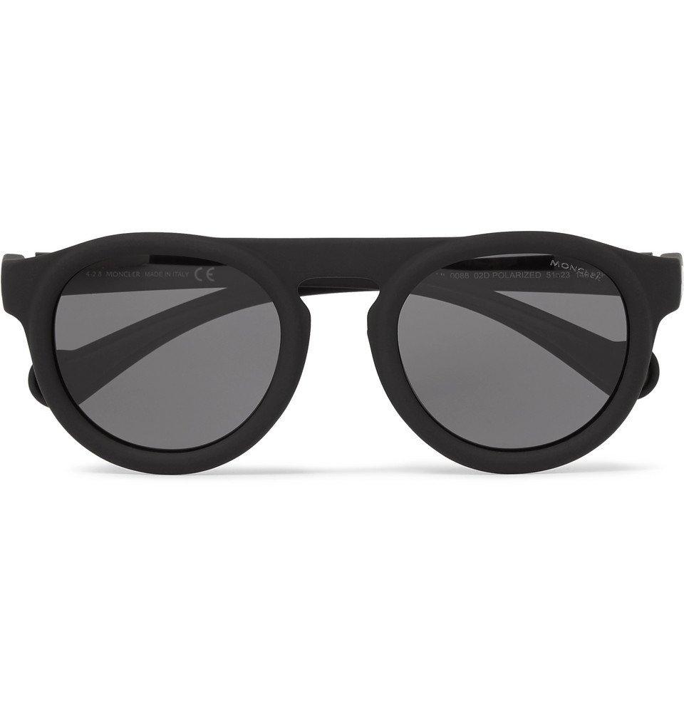 Photo: Moncler - Round-Frame Acetate Polarised Sunglasses - Black